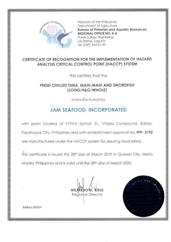 HACCP certificate fresh chilled fish JAM SEAFOODS